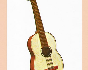 Vintage Guitar Musical Instrument Print / Old School Music / Midcentury 1960 Guitar / Classic Acoustic Guitar String Instrument Goodness