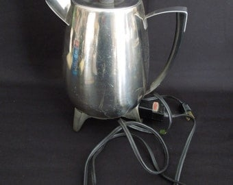 Percolating Electric Coffee Pot -  Stainless Percolator West Bend Lifetime - Mid Century Retro Kitchen Appliance