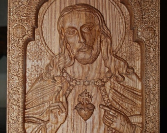 Sacred Heart of Jesus Wood Carving Religious catholic icons christian gifts personalized engraved gift for men chrstian gift for him