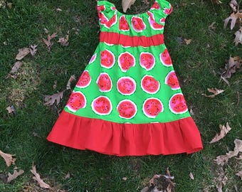 Peasant Dress with Bright Green and Watermelon print