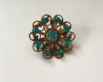 Vintage Light Blue Rhinestone with Gold Snowflake/Flower Brooch 0805