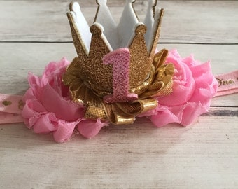 Pink and Gold First Birthday Headband, 1st Birthday Headband, Girls First Birthday Outfit, Smash cake outfit, Gold Crown