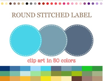50 Colors Digital ROUND STITCHED LABEL Clipart Stitched Circle Digital Frames Round Label Clipart Printable Labels Scrapbook Clip Art #C012