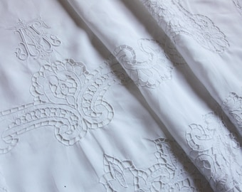 Luxurious French antique pure linen embroidered Bedsheet - AF monogram