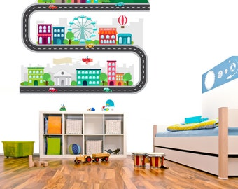Car Tracks Decals - Kids race car track wall decals - Car Tracks Decals, Kids Bedroom Car Tracks, Stickers boys room decals