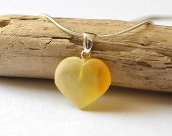 Heart amber pendant, Sterling Silver Amber Heart, Baltic Amber jewelry, Natural gift, Amber Heart Necklace on Sterling Silver Chain