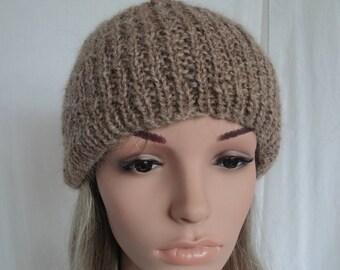 unisex alpaca beanie, fawn rib-knit cap, luxury knitted hat, handspun yarn beanie, alpaca/wool watchcap, gift for him or her, winter warmer