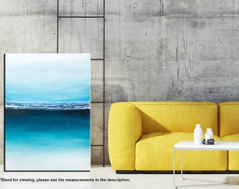 Ocean painting, Seascape art, Abstract art, Waves, Painting on canvas, California Landscape, Modern wall art, Home decor, Abstract painting