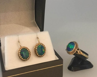 Vintage 1960's 9K Yellow Gold and Boulder Lightning Ridge Opal Clips with matching Opal Ring