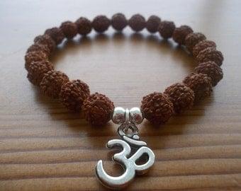 Rudraksha Bead Bracelet Wrist Mala With Silver Om Charm - Yoga, Hindu Meditation