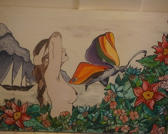 Original Canvas Painting by Giuliana - Rainbow Fairy & Woman