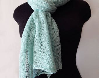 Knitted mint scarf, lace linen scarf, knitted long wide scarf, menthol scarf, linen wrap, woman scarf, mint lace wrap, summer scarf