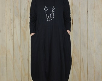 Ladies Lagenlook Plus Size Tunic Dress Parachute Boho Quirky UK 14 16 18 20 22 24 26/US 12 14 16 18 20 22 24 BLACK Artsy  8760