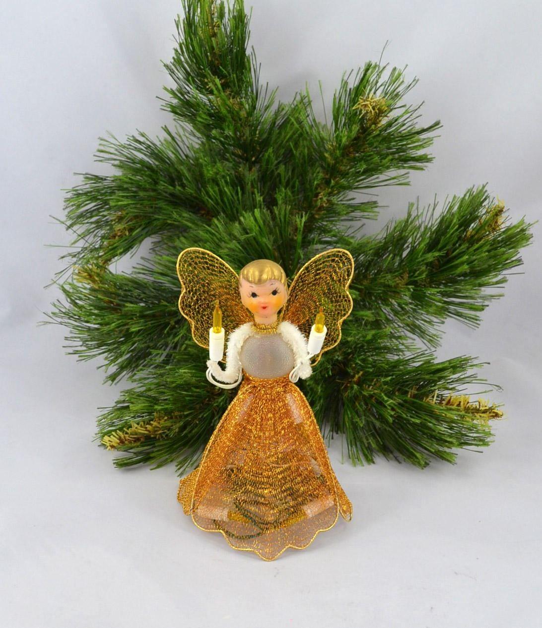 vintage angel tree topper lighted gold mesh angel topper. Black Bedroom Furniture Sets. Home Design Ideas