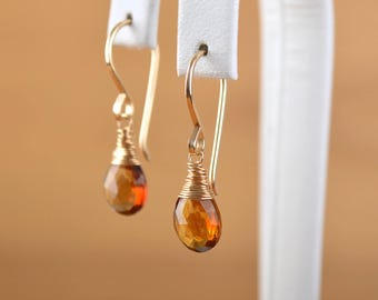 Golden Tourmaline Earrings, Green Tourmaline Stone Dangle Earrings natural Raw crystal Earrings: 14k Gold Filled, Rose Gold, Sterling Silver