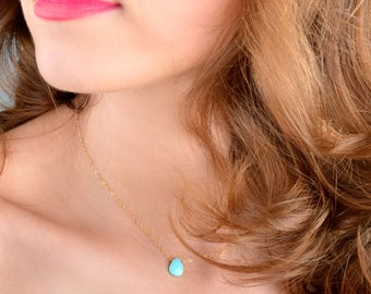 Sleeping beauty turquoise necklace, December Birthstone, Natural turquoise pendant jewelry: 14k Gold Filled, Rose Gold, Sterling Silver