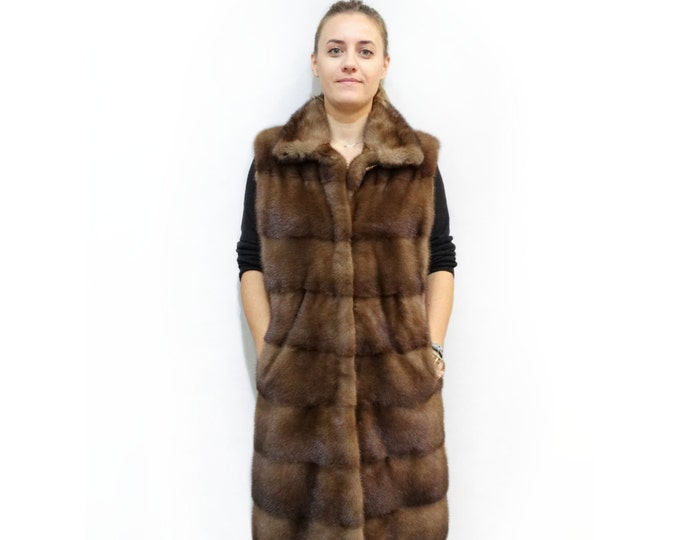 Very Long Fur Vest,Real Mink Vest,Brown Vest F233