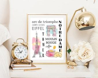 Paris Printable Wall Art, Paris Print, Subway Print, Paris Poster, Paris Typography Print, Paris Decor,  Kitchen Prints, Nursery Prints