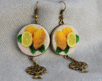 Lemon earrings Gift for her Cross stitch jewelry Embroidered earrings Yellow lemon jewelry Tree charm Hand embroidered jewelry Fruit jewelry