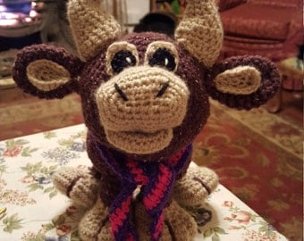 Bartholemew the Bull, Crochet pattern for cute Bull toy.  Part of Chinese Year Collection