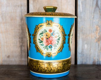 Vintage Tea or Bisquit Tin England - Blue Gold Floral Art Deco Flowers Storage Tin with Lid - Shabby Chic Cottage Kitchen Decor Storage Tin