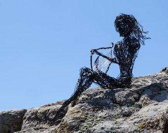 Black Figure, Art Decor, Harp Ornament, Decor Figure, Greek Mythology, Angel Art, Decor Sculpture, Wire Art Sculpture, Modern Sculpture