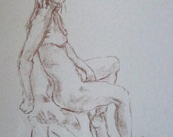 Original Pastel Drawing 'Seated Study'
