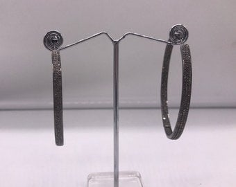 Handmade Women Oxidized Inside Out Big Hoop Earrings .925 Sterling Silver with 3 rows of Pave Diamonds 62mm Stylish