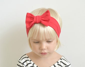 Baby Headwrap - Red Baby Bow - Red Bow Headband - Baby Head Wrap - Baby Girl Gift - Newborn Headband - Baby Girl Headband - Baby Headband