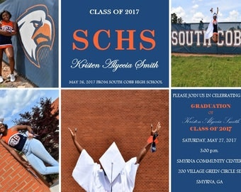 Printable Photo Collage Graduation Announcement and Party Invitation- Graduation Photo Card- Digital File- School Colors