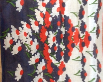 Kreier 100% Cotton Handkerchief - Floral Design in Red, White and Navy - New and Unused From Vintage 1970s Stock