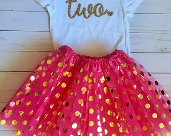 I'm Two! Second Birthday T Shirt and Tutu I Birthday Outfit I Second Birthday I Pink and Gold Tutu I **Ready to Ship **