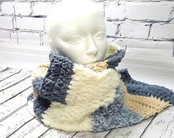 Very long scarf, crocheted scarf, large, blue and beige, unisex scarf, handmade, warm scarf, multiple texture