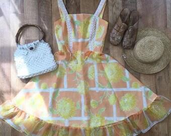 Vintage Peach Party Dress XS