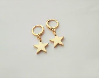 Gold Star Earrings, Star Hoop Earrings, Best Friend Gift, Star Shape Hoops, Minimalistic Star Charm Earrings, Small Hoops, Rock / E525