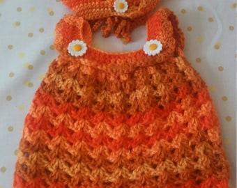crocheted baby dress w/ bonnet