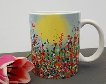 Poppies Are Red Art Print Mug. 11oz Ceramic Durham Style Mug