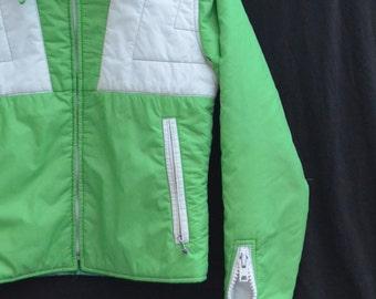 Retro Ski Jacket,Swing West,80s Ski Jacket,Green White 2-tone,Snowboarding Jacket,Powder Ski Jacket,Spring Ski,Vivid Grass Green,Winter Coat