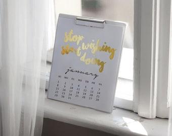 2017 Desktop Motivational Quote Calendar, 2017 Calendar, Real Gold Foil, Card Stock Paper , Handmade Paper, Modern Calendar, Christmas Gift.