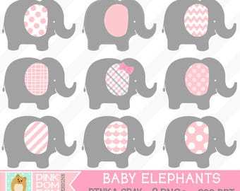 Baby Elephants Digital Clipart Set – Pink and gray - baby shower - girl elephant - Personal and Commercial use – Instant Download - PNG