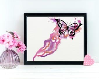 Watercolor Butterfly Art Print, Monarch Butterfly Art, Monarch wall Art, Silhouette Of Butterfly, Butterfly Gift, Butterfly Matte Paper