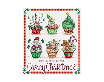 Christmas Cupcakes - Durene J Cross Stitch Pattern