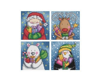 Delivering Presents - Set of 4 - Durene J Cross Stitch Patterns