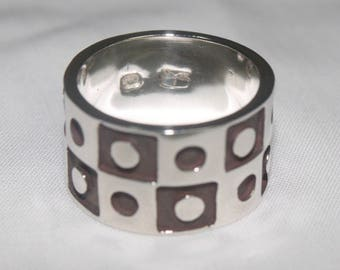 INKASSOUL  cube & circle shapes RING,  Solid Sterling Silver - Andean Trends (free shipping)