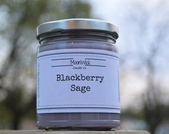 Blackberry Sage Soy Candle   8oz. Soy in Glass Jar   Wooden OR Cotton Wick   Spring Candle   Clean and Fresh   Blackberry Sage Soy Candle