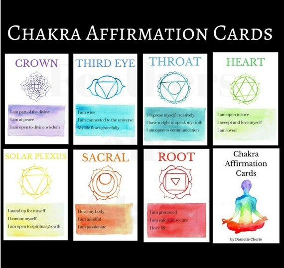 Watercolor Chakra Affirmation Card Set Tarot Cards