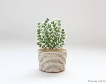 Mini embroidered plant + pot set