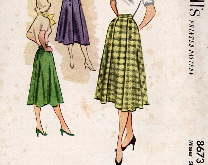McCall's 8673 Vintage Retro 1950s 50s 1951 Rockabilly Skirt Button Trim Gored Uncut Waist 24 Sewing Pattern Free Us Ship