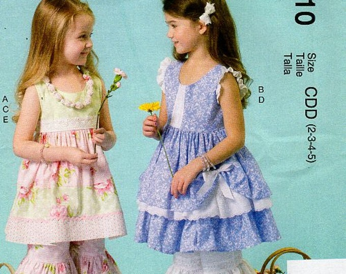 McCall's 7110 Free Us Ship  Ruffles Lace Girl's Boho Bohemian Top Pants Shorts Bloomers  Uncut New Sewing Pattern Out of Print Size 2 3 4 5