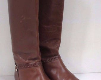 Vintage Etienne Aigner Alexis I Tobacco Cognac Brown Leather Riding Boots Women's Size 8 M